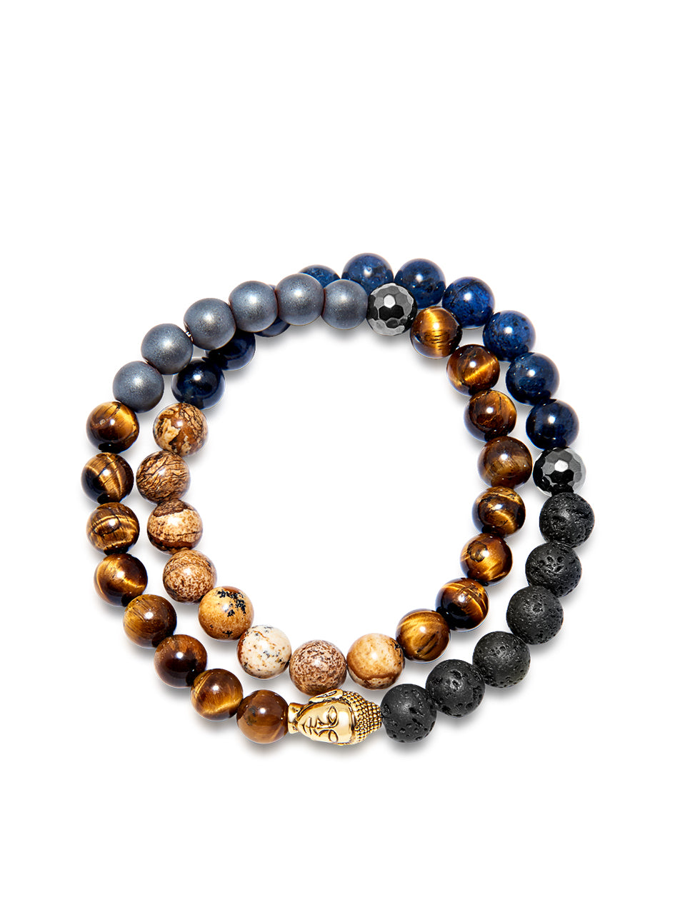 Men's Wrap-Around Bracelet with Pyrite, Lava Stone, Hematite, Tiger Eye, Jasper, Blue Dumortierite and Gold Buddha