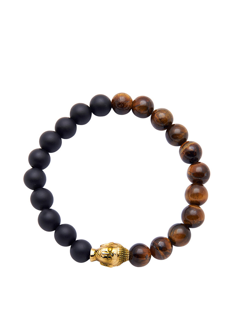 Men's Wristband with Tiger Eye, Matte Onyx and Gold Buddha