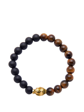Men's Wristband with Tiger Eye, Matte Onyx Bracelet and Gold Buddha