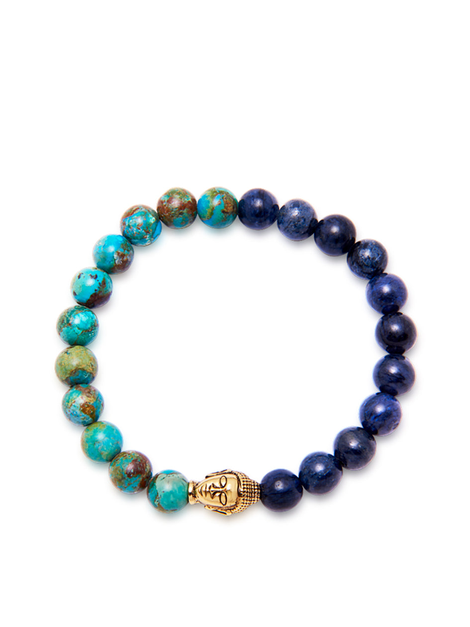 Men's Wristband with Bali Turquoise and Blue Dumortierite