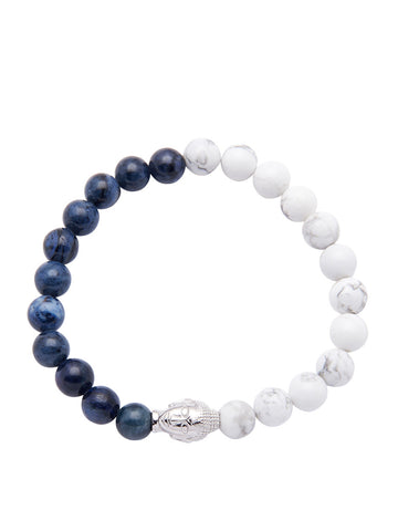 Men's Wristband with Blue Coral, Howlite and Silver Buddha