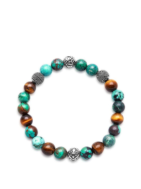 Men's Wristband with Bali Turquoise, Tiger Eye and Indian Silver - NIALAYA INC