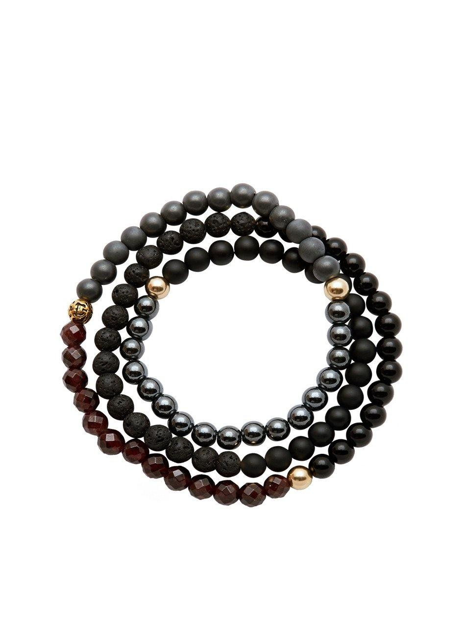 Men's Wrap Around With Hematite, Matte Onyx, Lava Stone, Black Agate, Gold Hollow - Nialaya Jewelry
