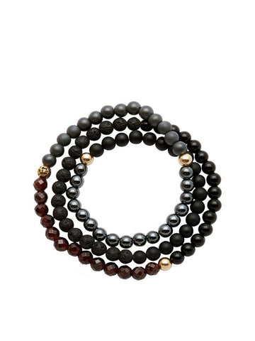 Men's Wrap Around With Hematite, Matte Onyx, Lava Stone, Black Agate, Gold Hollow