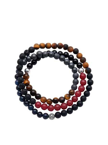 Men's Wrap Around With Blue Coral, Matte Onyx, Brown Tiger Eye, Black Agate, Red Jade, Lava Stone - Nialaya Jewelry  - 1
