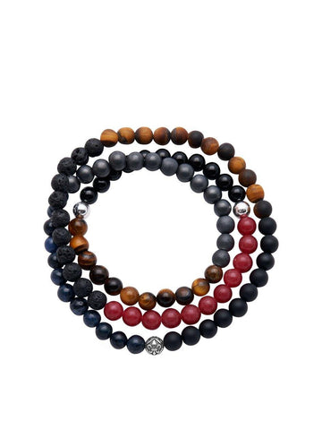 Men's Wrap Around With Blue Coral, Matte Onyx, Brown Tiger Eye, Black Agate, Red Jade, Lava Stone