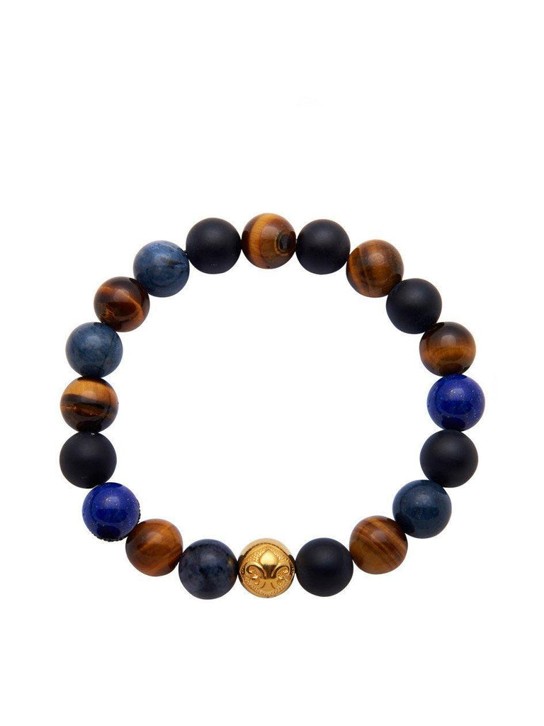 Men's Wristband With Brown Tiger Eye, Blue Lapis & Blue Dumortierite