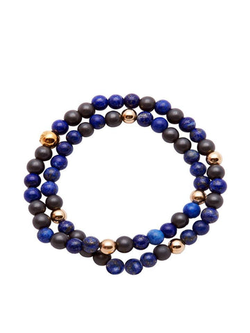 Men's Wrap-Around Bracelet with Blue Lapis, Ebony and Gold / Nialaya Charity Bracelet