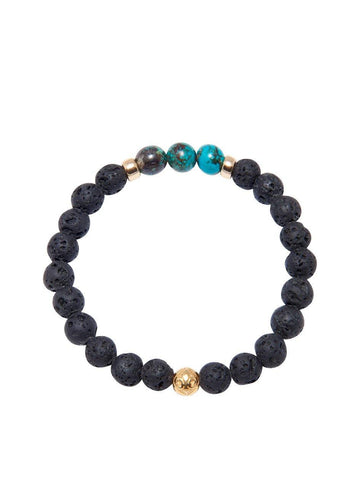 Men's Wristband with Lava Stone and Bali Turqouise