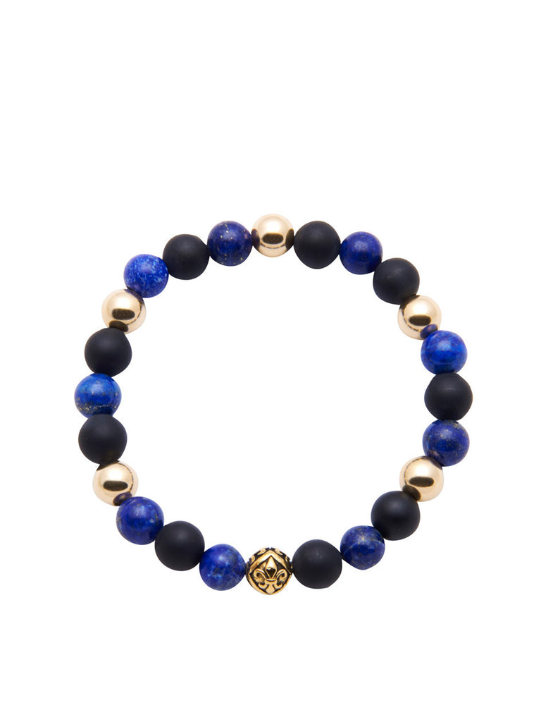 Men's Classic With Blue Lapis and Matte Onyx - Nialaya Jewelry  - 1