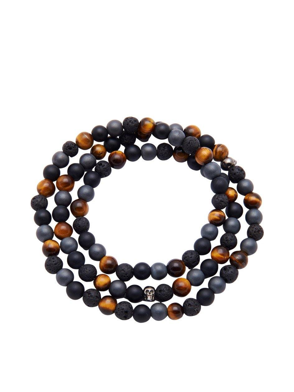 Men's Wrap Around With Matte Onyx, Brown Tiger Eye, Hematite, Lava Stone & Skulls - Nialaya Jewelry  - 1