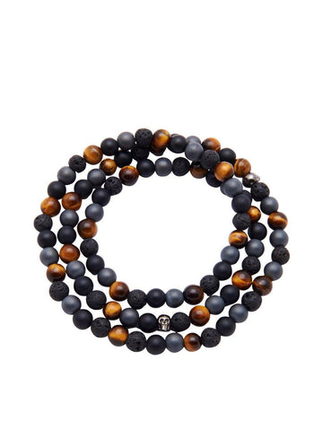 Men's Wrap Around With Matte Onyx, Brown Tiger Eye, Hematite, Lava Stone & Skulls