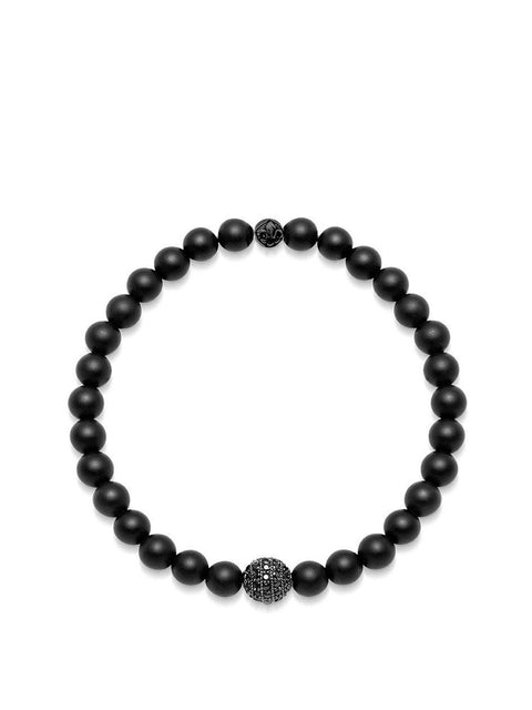 Men's Wristband with Matte Onyx and Black CZ Diamond - NIALAYA INC