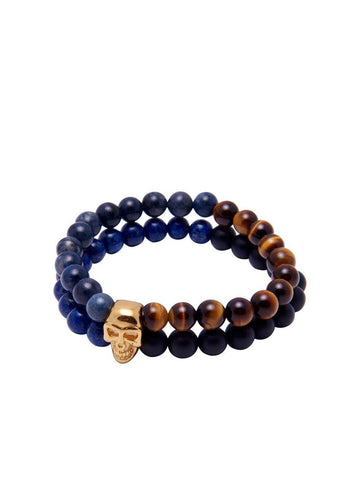 Tiger Eye With Blue Lapis - Nialaya Jewelry  - 1