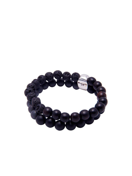 Matte Onyx With Lava Stone - Nialaya Jewelry  - 2