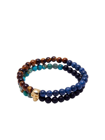 Men's Double-Beaded Skull Bracelet with Blue Lapis, Bali Turquoise, Tiger Eye, and Matte Onyx