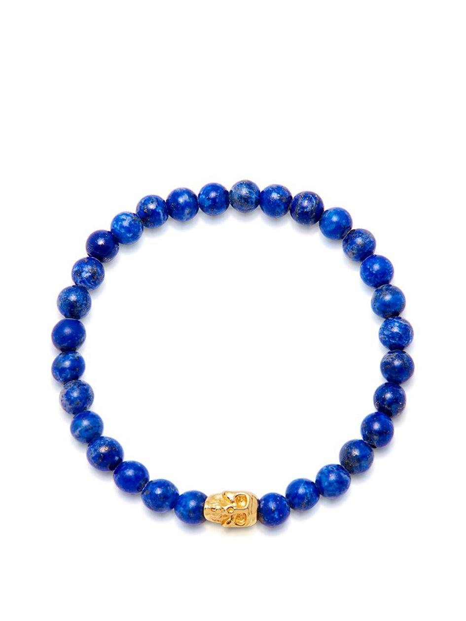 Men's Wristband with Blue Lapis and Gold Skull - NIALAYA INC