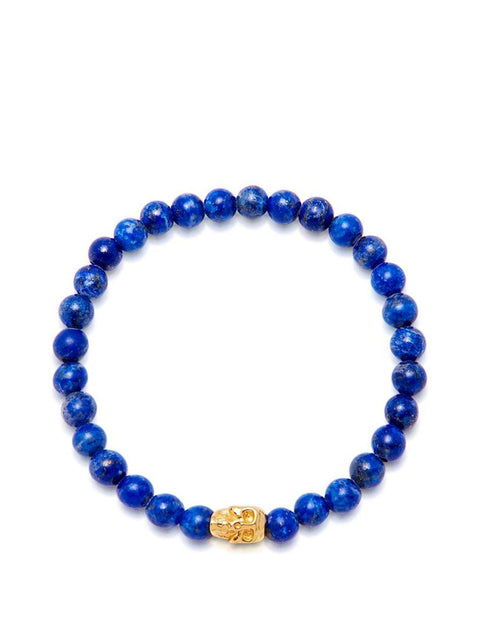 Men's Wristband with Blue Lapis and Gold Skull