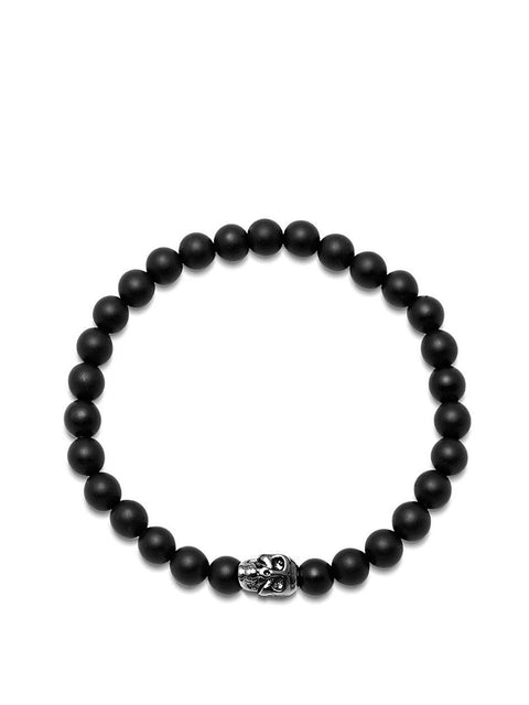 Men's Wristband with Matte Onyx and Black Skull - NIALAYA INC