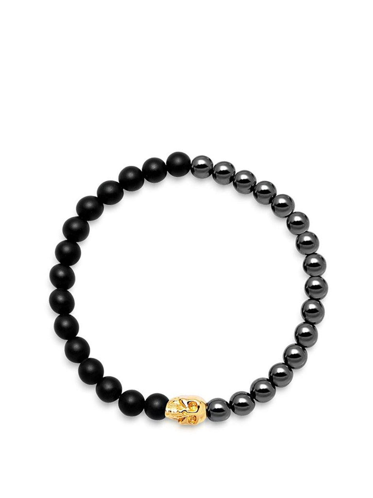 Men's Wristband with Hematite, Matte Onyx and Gold Skull