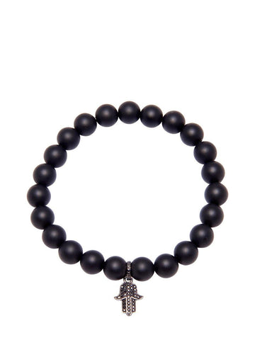 Men's Wristband with Matte Onyx and Hamsa Hand