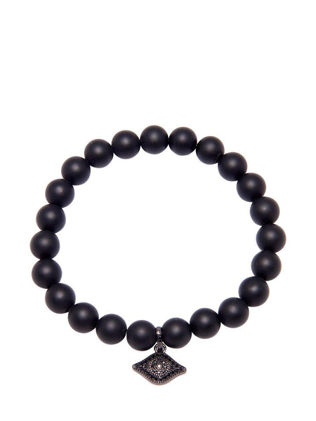 Men's Wristband with Matte Onyx and Evil Eye - Nialaya Jewelry  - 1