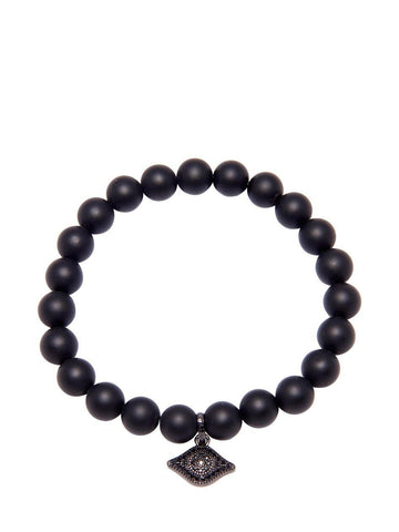 Men's Wristband with Matte Onyx and Evil Eye