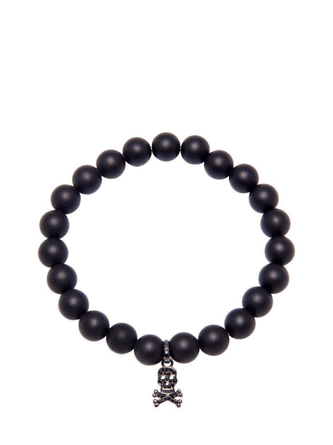 Men's Wristband with Matte Onyx and Skull - Nialaya Jewelry  - 1