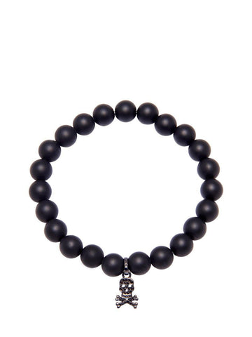 Men's Wristband with Matte Onyx and Skull