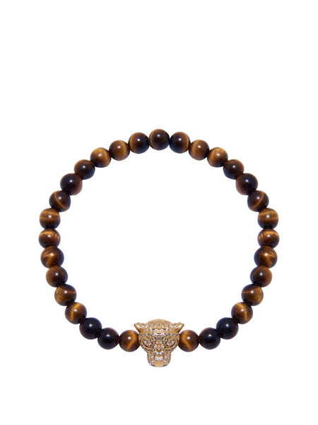 Men's Wristband With Brown Tiger Eye And Gold Panther Head - Nialaya Jewelry  - 1