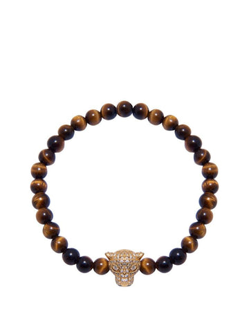 Men's Wristband With Brown Tiger Eye And Gold Panther Head