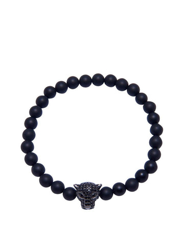 Men's Wristband With Matte Onyx And Panther Head