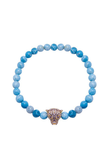 Men's Wristband With Larimar And Gold Panther Head