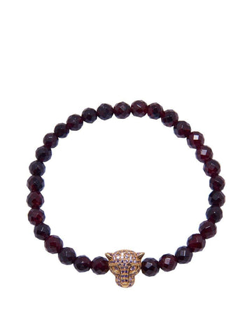 Men's Wristband With Garnet And Gold Panther Head - Nialaya Jewelry  - 1