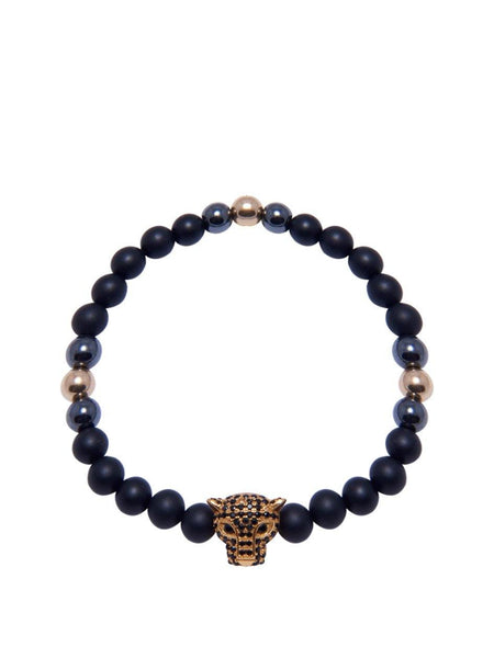 Men's Wristband With Matte Onyx And Gold Panther Head - Nialaya Jewelry  - 1