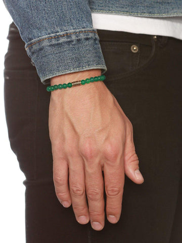 Men's Wristband With Green Jade
