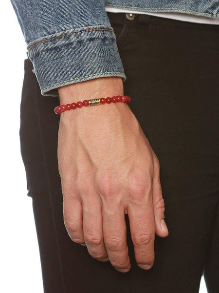 Men's Wristband With Red Jade
