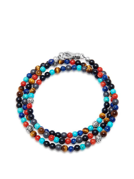The Mykonos Collection - Turquoise, Red Coral, Blue Lapis, Hematite and Onyx - Nialaya Jewelry  - 1