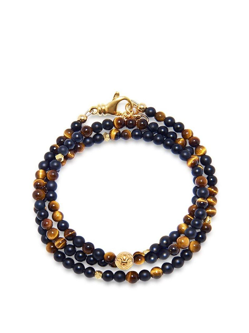 The Mykonos Collection - Brown Tiger Eye, Matte Onyx and Gold - NIALAYA INC