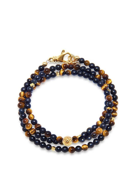 The Mykonos Collection - Brown Tiger Eye, Matte Onyx and Gold - Nialaya Jewelry  - 1