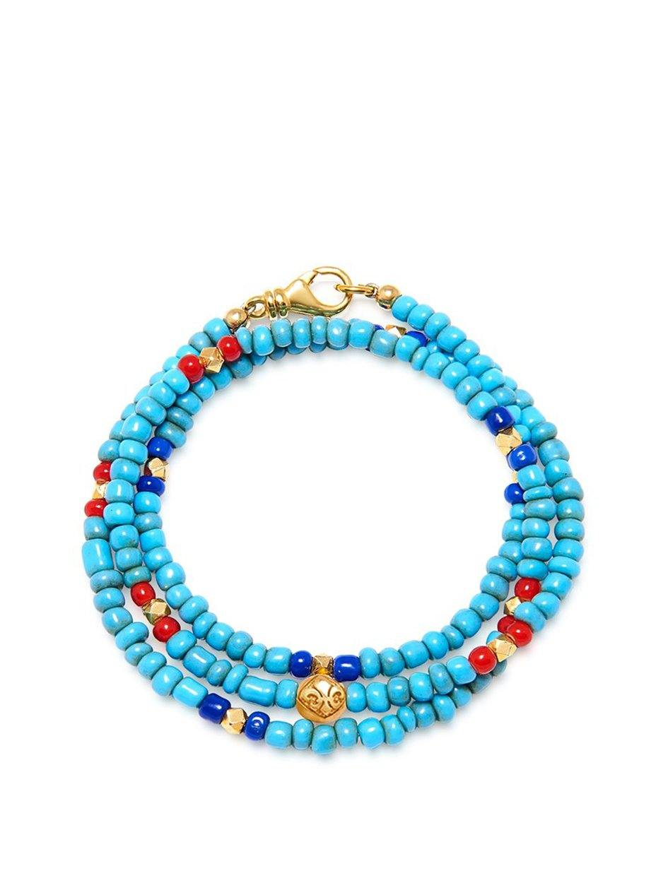 The Mykonos Collection - Vintage Turquoise, Red, and Blue Glass Beads - NIALAYA INC