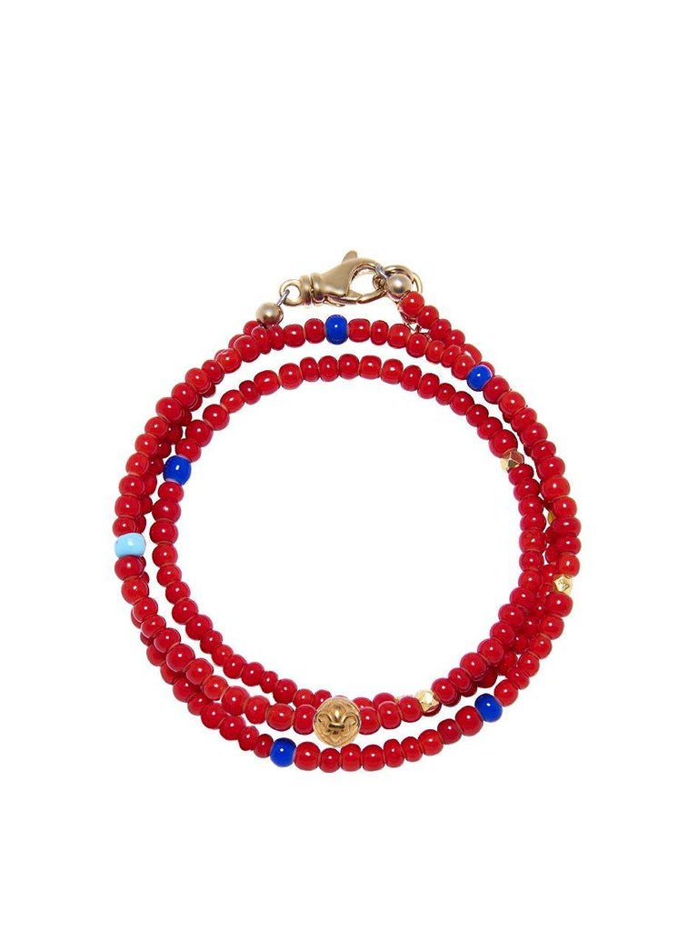 The Mykonos Collection - Vintage Glass Red, Blue, Turquoise Beads and Gold