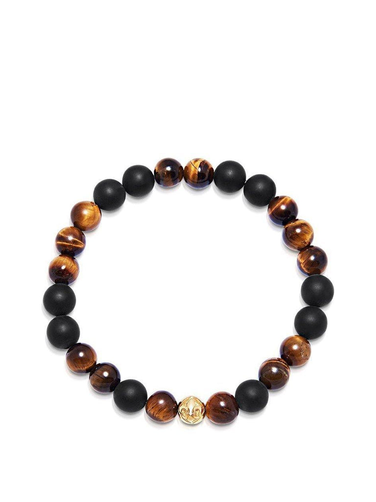 Men's Wristband with Matte Onyx and Brown Tiger Eye