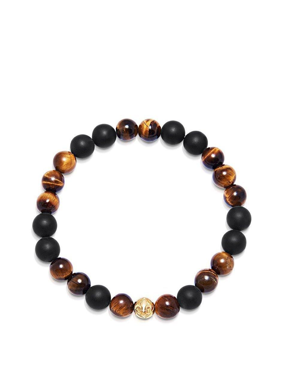 Men's Wristband with Matte Onyx and Brown Tiger Eye - NIALAYA INC