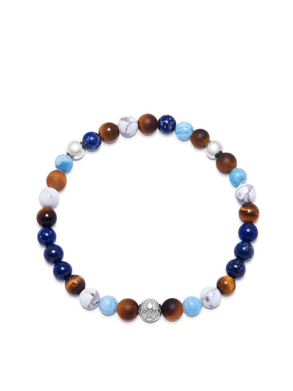 Men's Wristband with Blue Lapis, Larimar, Howlite and Brown Tiger Eye