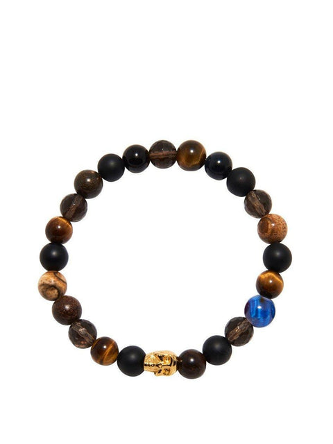Men's Wristband with Brown Tiger Eye, Matte Onyx, Agate and Gold Skull