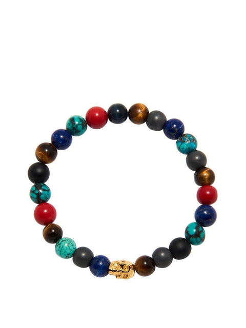 Men's Wristband Multi-Colored with Gold Skull