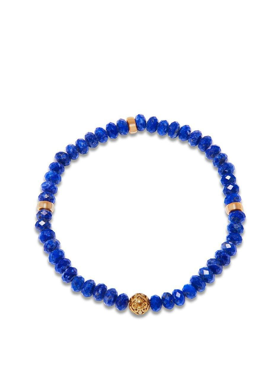 Men's Wristband with Faceted Blue Lapis and Gold