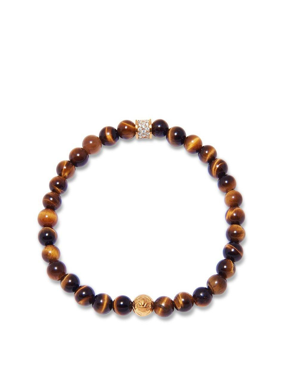 Men's Wristband with Brown Tiger Eye and Gold