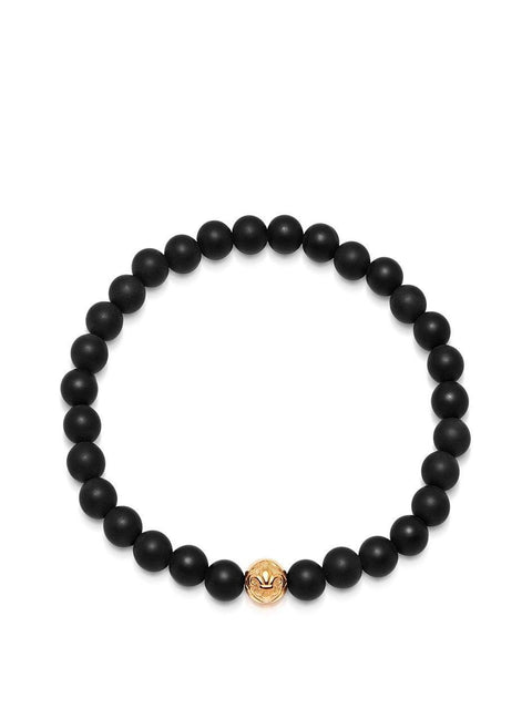 Men's Wristband with Matte Onyx and Gold - NIALAYA INC